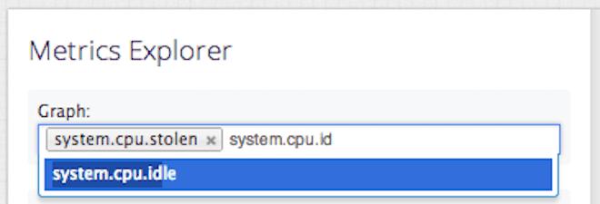 Selecting CPU metrics in Datadog to measure steal