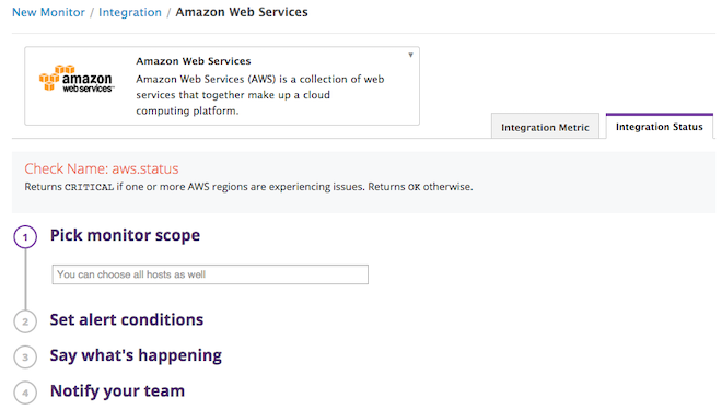 AWS outage Alert conditions