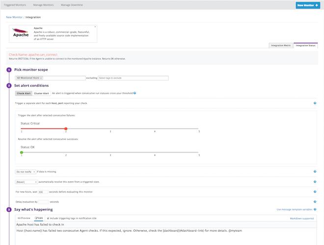Datadog alert to detect when Apache host fails
