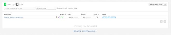 Apache server in Datadog app