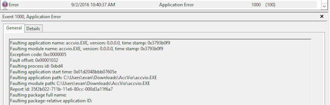Windows Server 2012 monitoring - Application EventID 1000