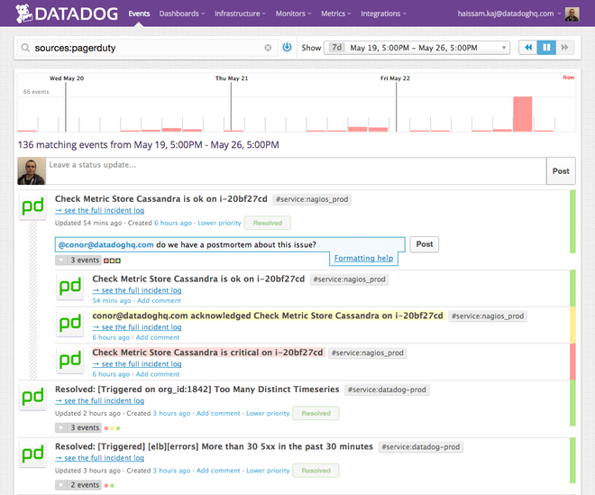 Continuously monitor incidents with the Pagerduty integration